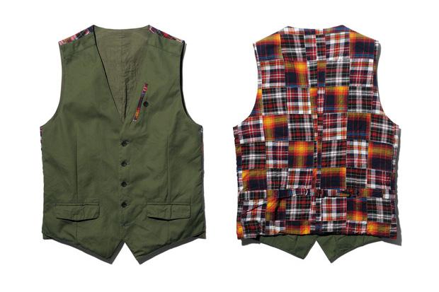 SOPHNET. Cotton Weather/ Patch Work Madras Cotton Vest