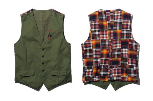 SOPHNET. Cotton Weather/ Patch Work Madras Cotton Vest