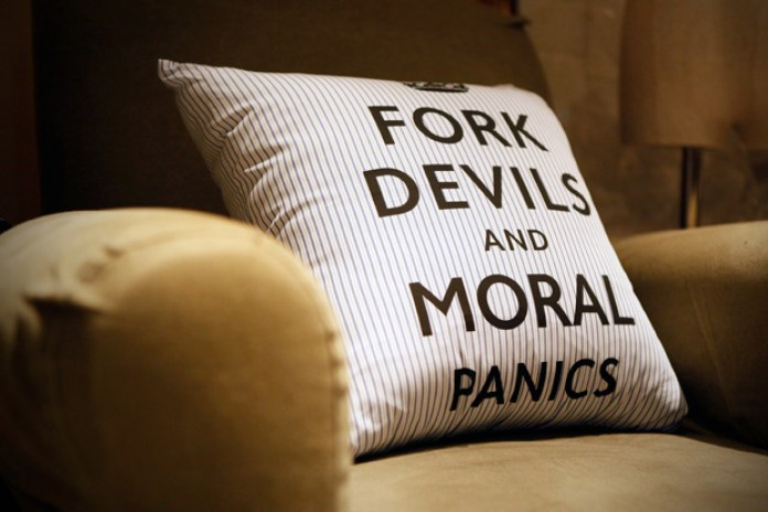 "uniform experiment ""FORK DEVILS AND MORAL PANICS"" Cushion"