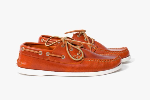 Yuketen Boat Shoe Orange Leather