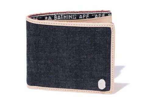 A Bathing Ape Denim Leather Wallet