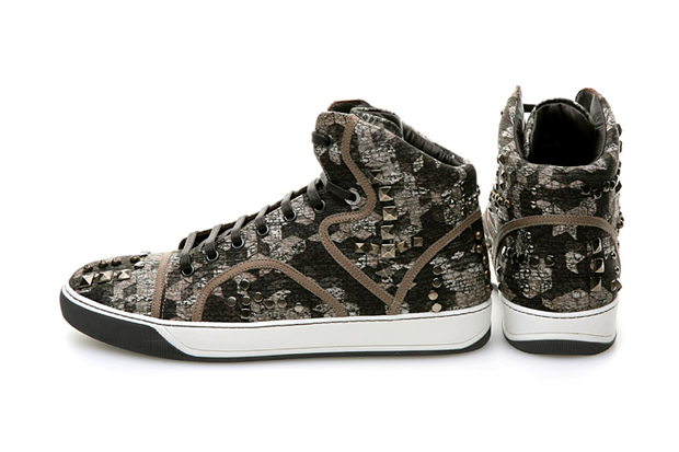 "Lanvin ""Camo Stud"" High-Top Sneakers"