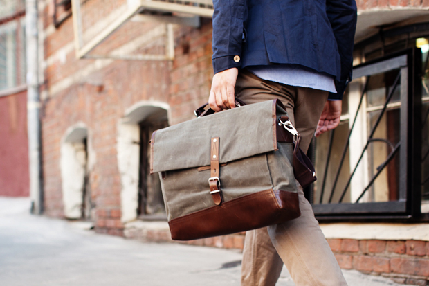 property of alfred work messenger bag