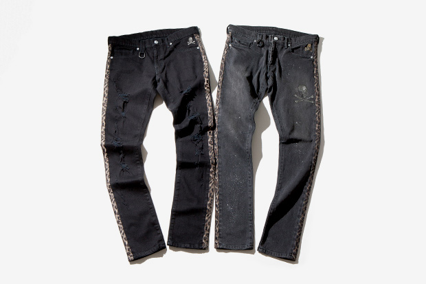 roen leopard damaged denim