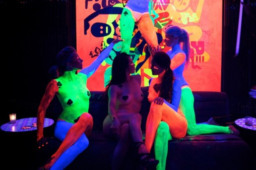 "Ryan McGinness ""Women: The Blacklight Paintings"" Installation @ The Standard's Purple Lounge (NSFW)"