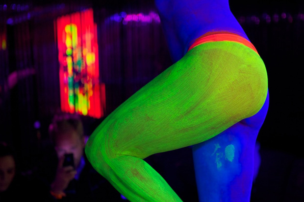 ryan mcginness women the blacklight paintings installation the standards purple lounge