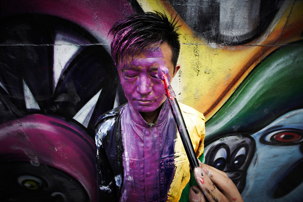 Liu Bolin x Kenny Scharf Houston Mural