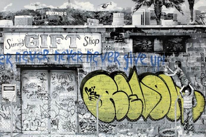 Mr. Brainwash x REVOK 'Never Give Up' Print
