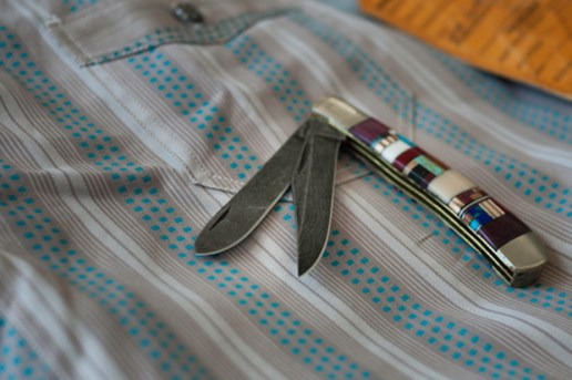 Self Edge Haught Damascus Trapper Pocket Knife