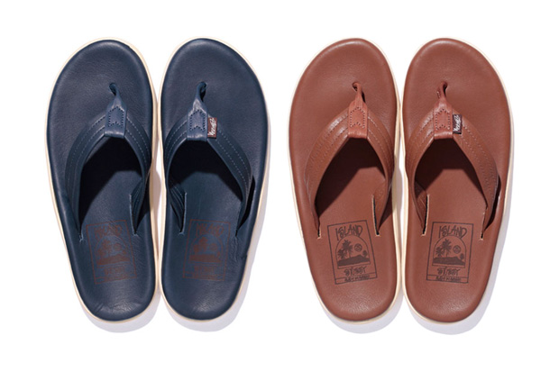 stussy x island slipper leather sandals