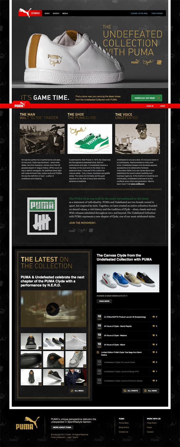 undefeated x puma collection mini website