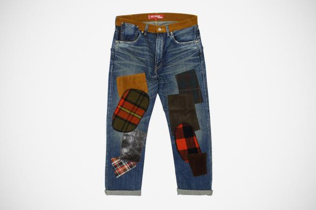 junya watanabe comme des garcons man x levis vintage clothing 1954 patchwork denim