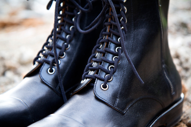 maison martin margiela leather lace up boots
