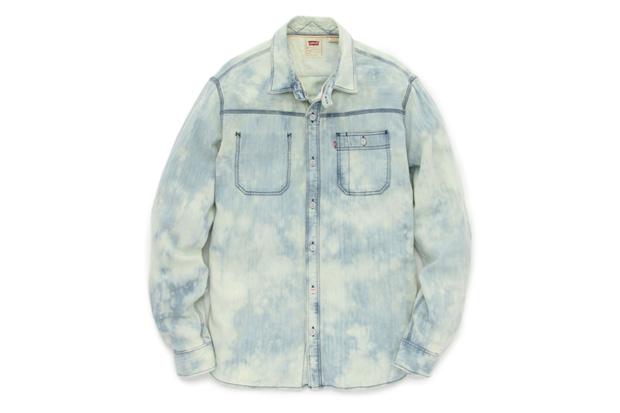 red tab levis original jeans bleach wash denim work shirt