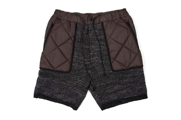 sacai wool and quilted shorts