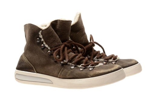White Premiata Shearling Baseball Sneakers