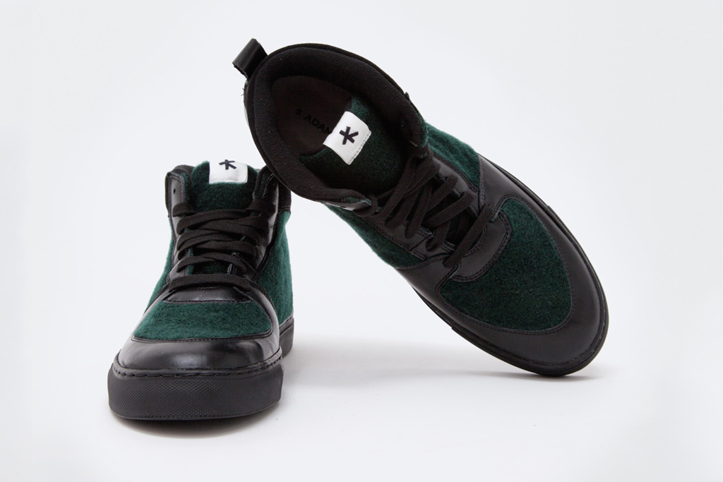 Adam Kimmel Leather Sneaker Black/Dark Green