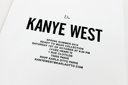 Dw by Kanye West 2012 Spring/Summer Presentation Invite