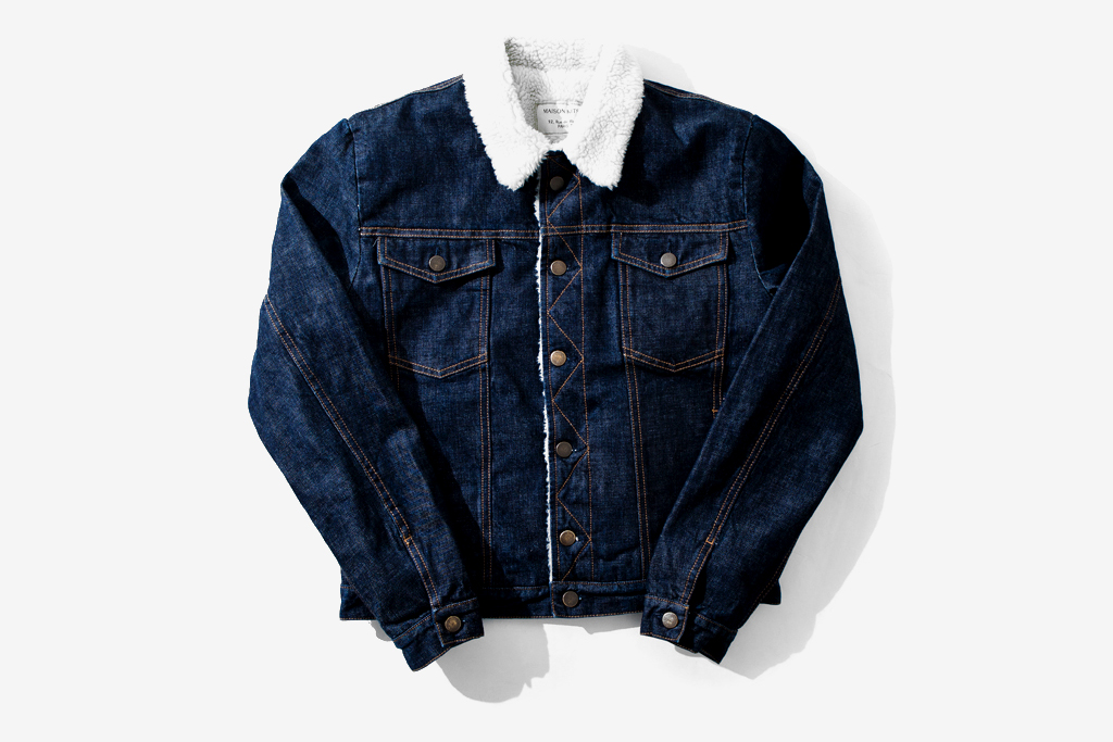 kitsune shearling denim jacket