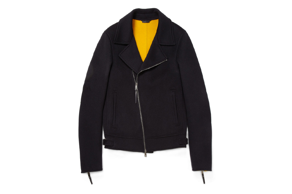 jil sander zipped wool biker jacket