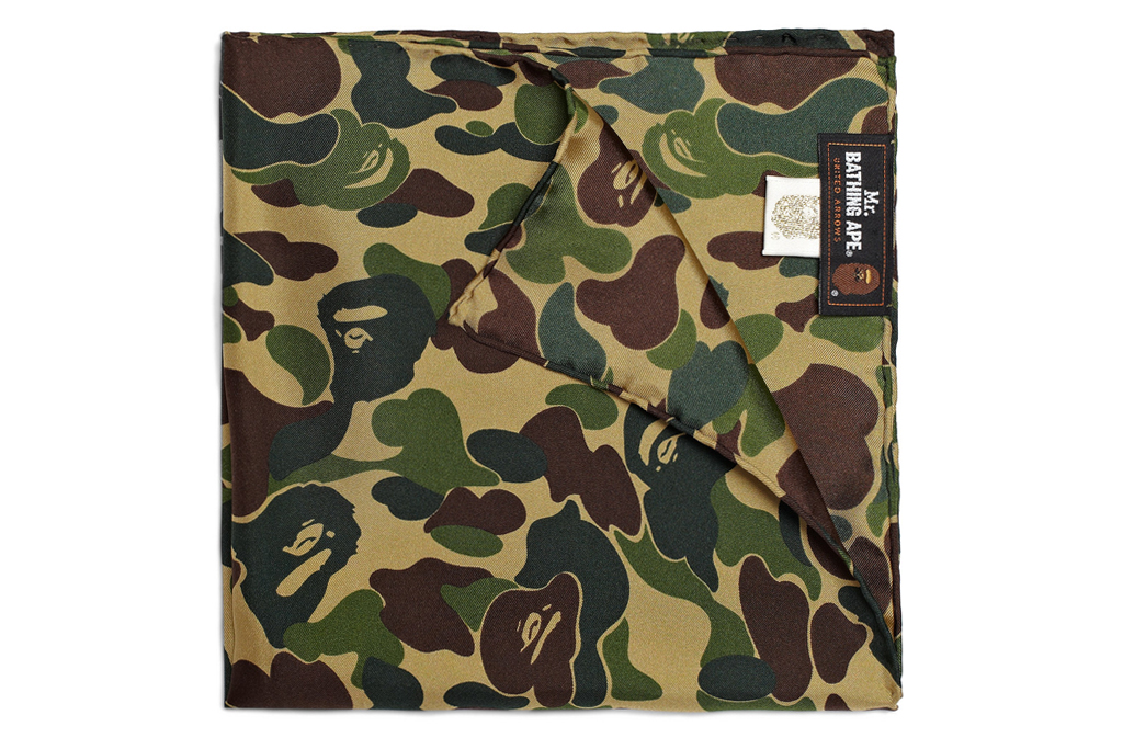 mr bathing ape silk camouflage pocket square