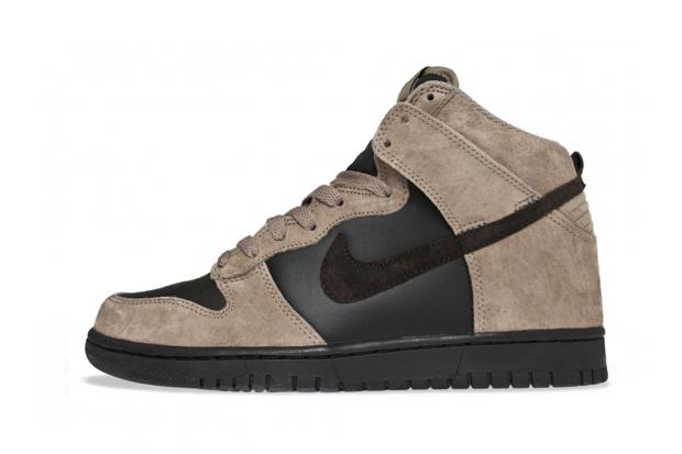 nike sportswear dunk high khakivelvet brown black