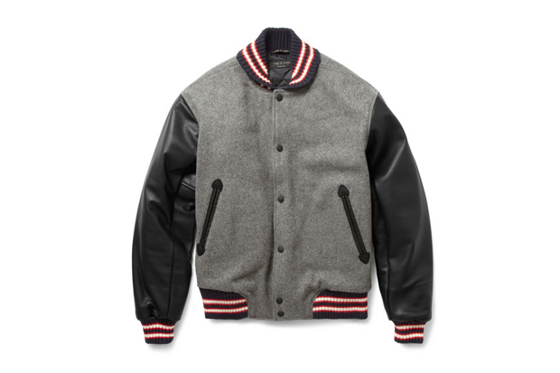 rag bone grey wool blend varsity jacket