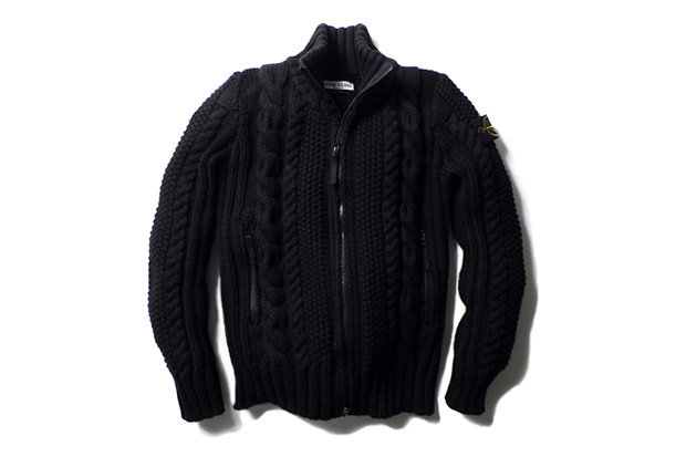 Stone Island Cable Knit Zip Cardigan