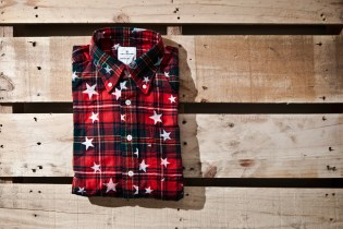 uniform experiment x ENGLATAILOR STAR PRINT FLANNEL CHECK B.D SHIRT