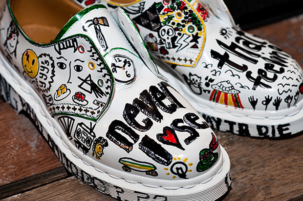 zouk x dr martens custom 1461 shoes for charity