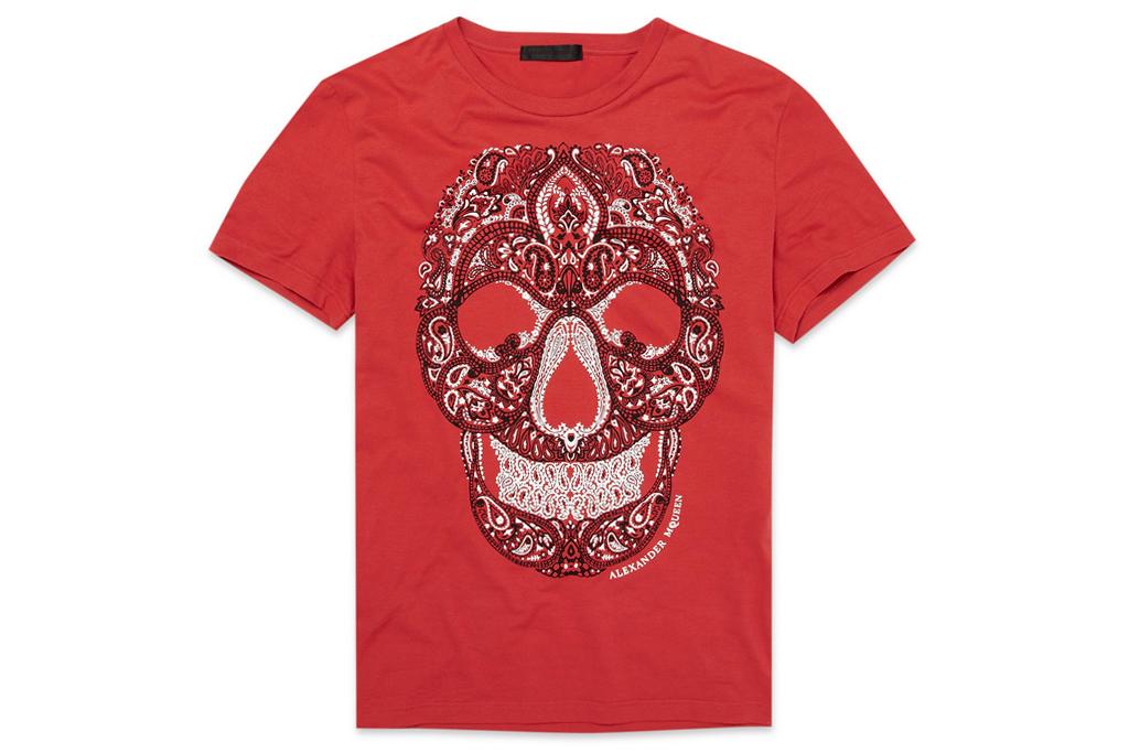 alexander mcqueen paisley skull t shirt