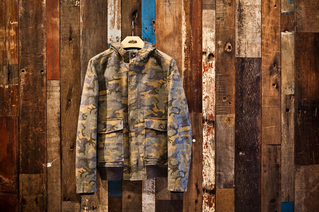 hentsch man camo wool blend hooded jacket