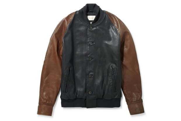 levis made crafted two tone leather varsity jacket
