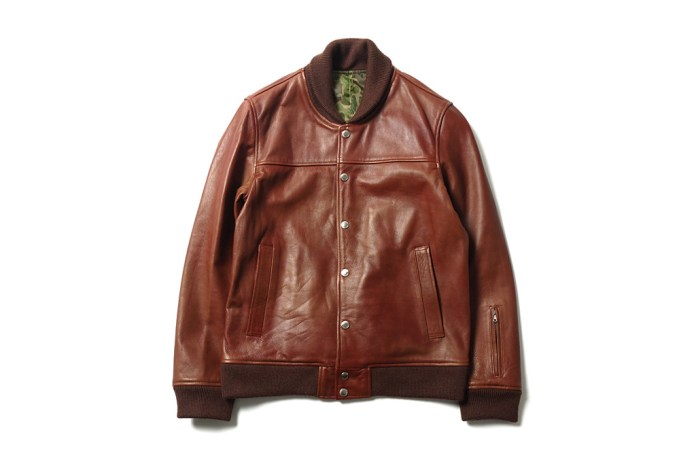 SOPHNET. Leather Stadium Blouson