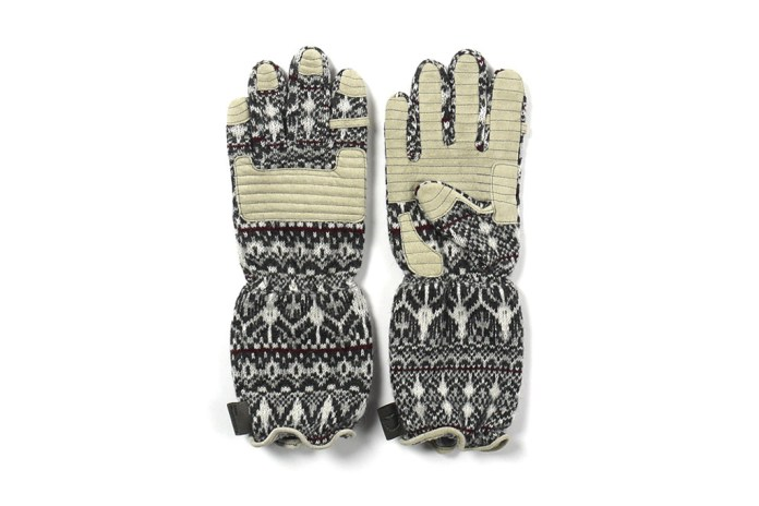 White Mountaineering Middle Knit Stratum Pattern Gloves