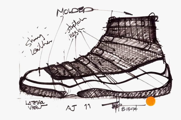 Air Jordan XI Original Sketches By Tinker Hatfield