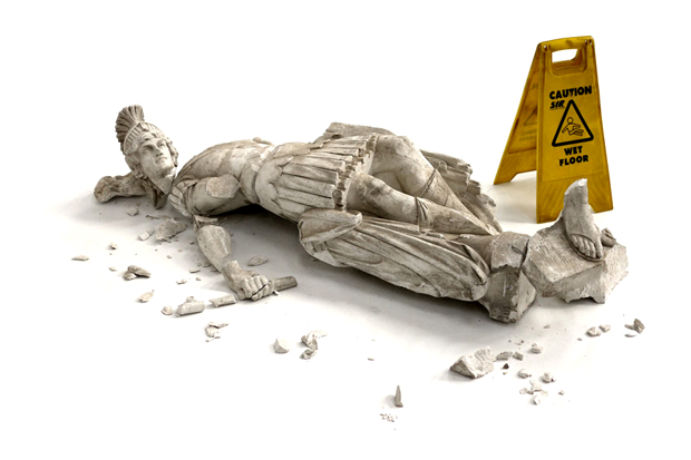 banksy fallen sculpture