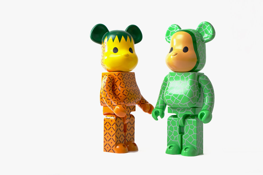 clot x medicom toy 1000 bearbrick melon amp pineapple set