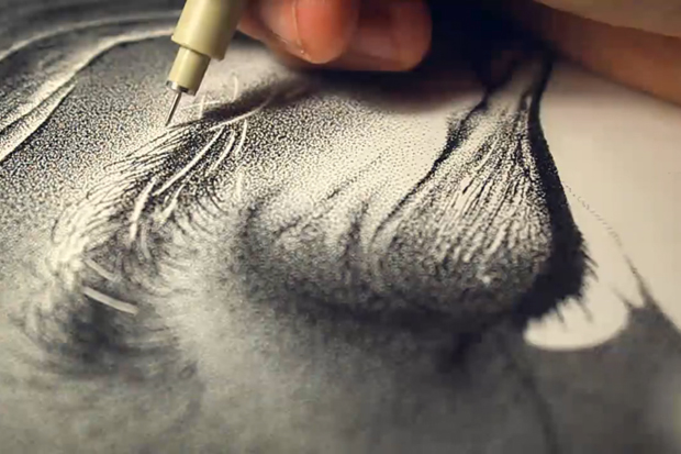 Hero - A Drawing Composed of 3.2 Million Ink Dots