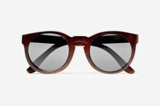 Illesteva Leonard Round Framed Wooden Sunglasses