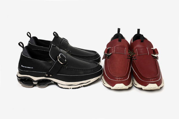 research x mizuno double ring moccasin