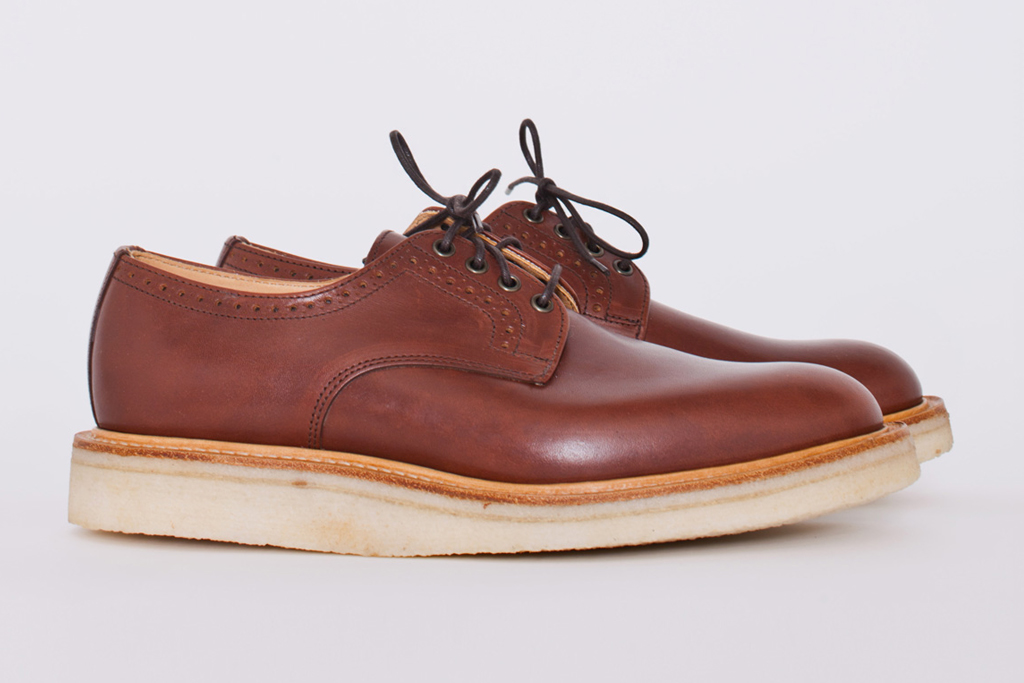 tres bien shop x mark mcnairy punched quarter waxy tan derby