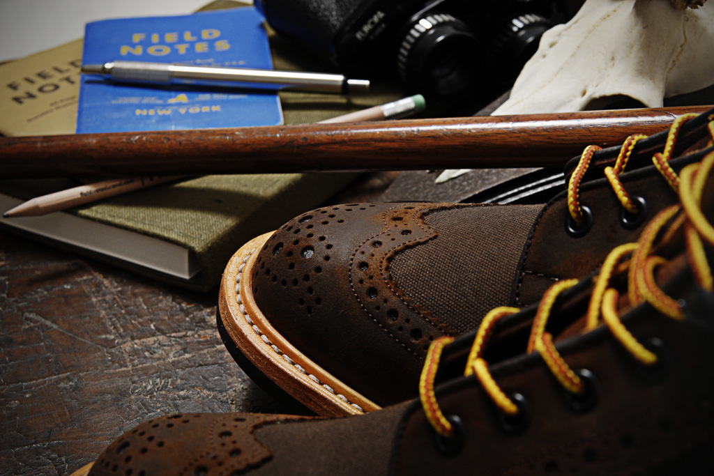 trickers for end hunting co waxy espresso two tone brogue super boot
