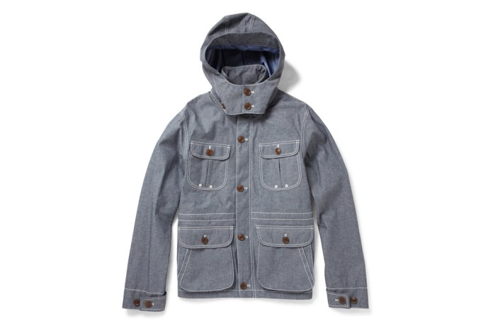 Woolrich Lightweight Blue Cotton-Blend Chambray Jacket