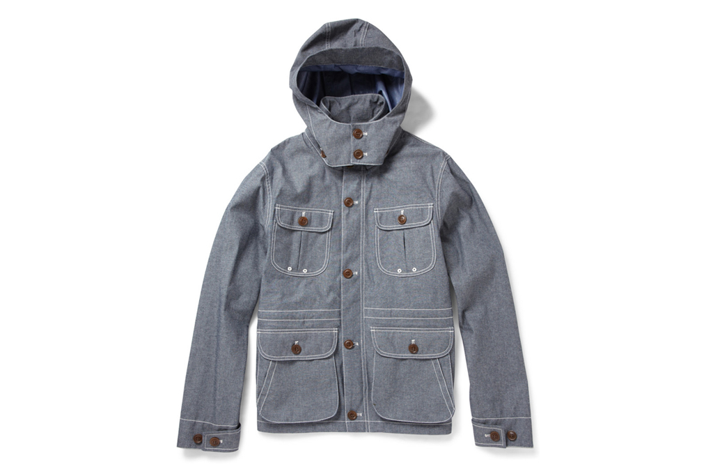 woolrich lightweight blue cotton blend chambray jacket