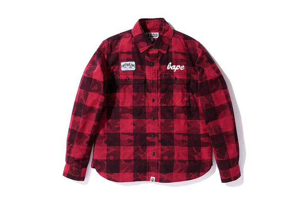 a bathing ape abc baffalo check flannel shirts