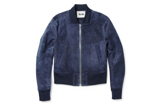 Acne Mckenzie Suede Cropped Bomber Jacket