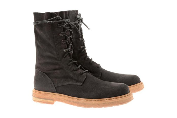 Ann Demeulemeester Black Washed Suede Biker Boots