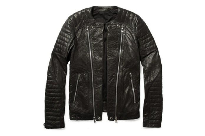 Balmain Zipped Padded Leather Biker Jacket
