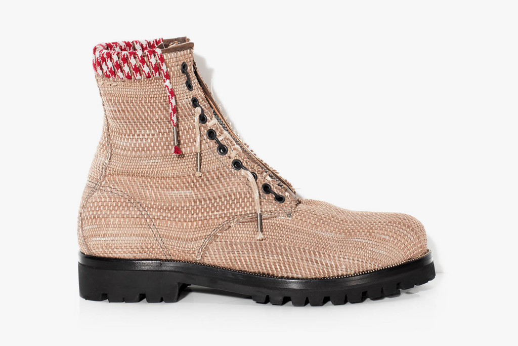 lanvin hand embroidery woven calfskin pped boot